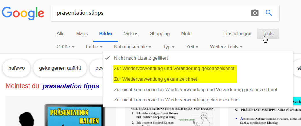 Bei der Google Bildersuche nach CC-lizensierten Bildern suchen