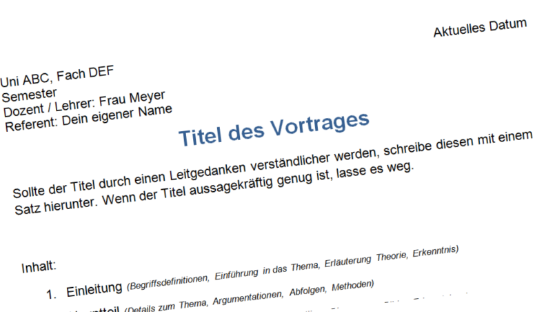 Handout - Tipps zum Aufbau, Beispiele, Vorlage und Muster zum Download - Präsentationstipps.de